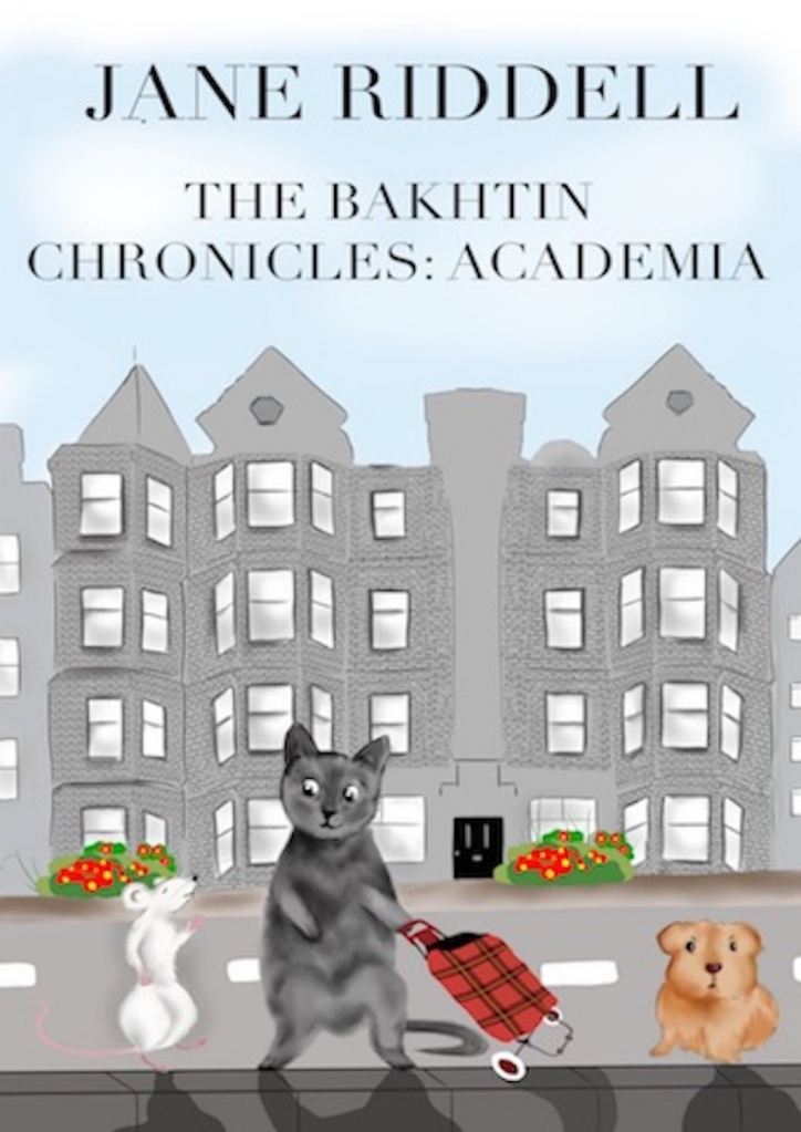 Cover art for The Bakhtin Chronicles, with a mouse, cat and small dog walking down the street beside some terraced houses.