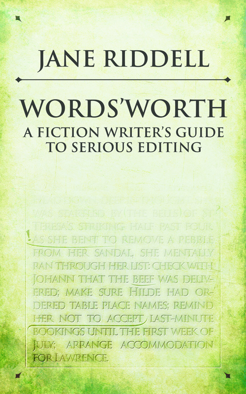 "Cover art for Words'worth with the subtitle, ""A fiction writer's guide to serious editing"" and some text marked up for editing."